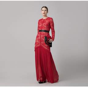 Amanda Wakeley | Red Paisley Lace Tulle Long Dress | Xl | Red