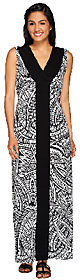 Denim & Co. As Is Printed V-neck Max Dress w/ Solid Front Panel