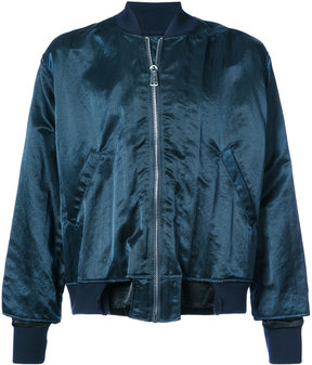 Longjourney distressed hem bomber jacket