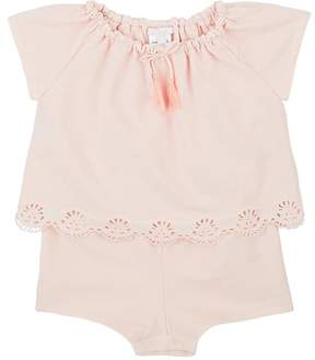 Chloé INFANTS' EYELET-TRIMMED COTTON ROMPER