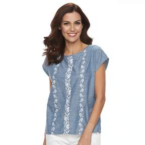Caribbean Joe Women's Embroidered Chambray Top