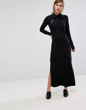 Fred Perry Bella Freud Pique Maxi Dress with Retro Collar