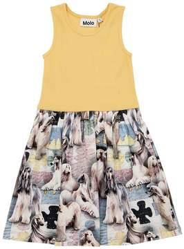 Molo Dogs Cotton Rib Jersey & Interlock Dress