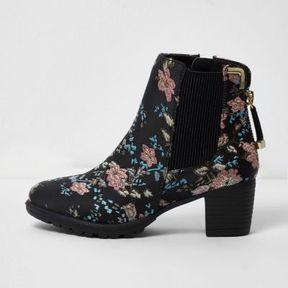 River Island Girls black floral jacquard block heel boots