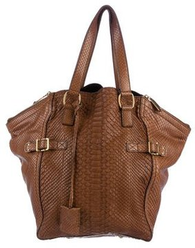 Saint Laurent Python Downtown Bag - BROWN - STYLE