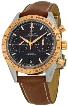 Omega Speedmaster Chronograph Automatic Black Dial Brown Leather Men's Watch