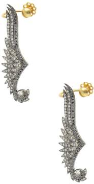 Artisan Women's 18K Gold Diamond Feather-shaped Ear Cuffs
