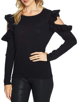 CeCe Ruffled Exposed Shoulder Sweater