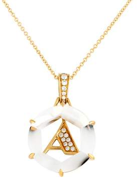 Frederic Sage 18k Yg Diamond Initial  a Pendant With Chain