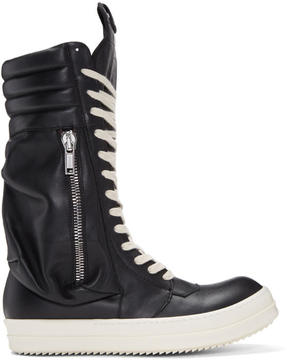 Rick Owens Black Cargobasket High-Top Sneakers