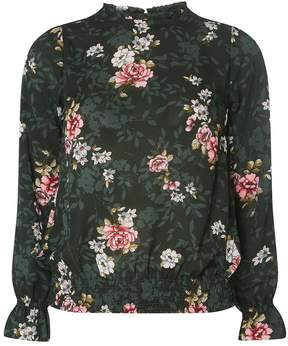 Dorothy Perkins Green Floral Print High Neck Blouse