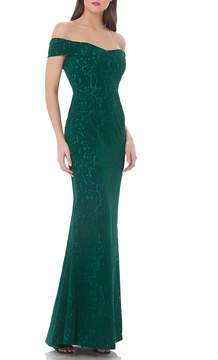 JS Collections Off-The-Shoulder Velvet Gown