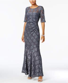 Connected Elbow-Sleeve Metallic Lace Gown