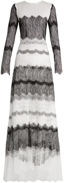 Emilio De La Morena Detachable-sleeve bi-colour lace gown