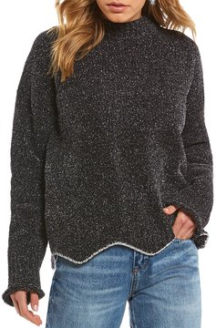 Chelsea & Violet Lurex Metallic Hem Sweater