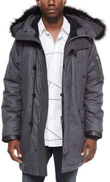 Rag & Bone Mixed Media Parka with Fur-Trimmed Hood, Charcoal