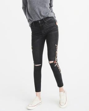 Abercrombie & Fitch Embroidered High-Rise Ankle Jeans