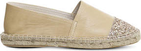 Office Lucky leather glitter-detail espadrilles