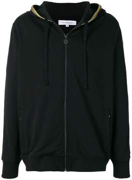 Les Benjamins logo embroidered zipped hoodie