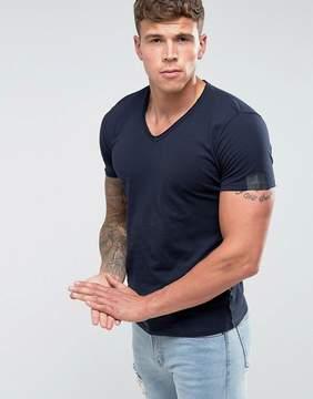 Replay Raw Hem V-Neck T-Shirt