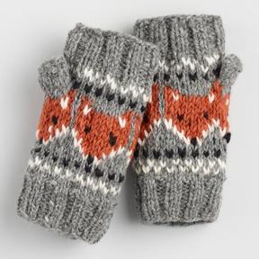 World Market Gray and Rust Wool Fox Convertible Gloves