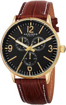 Akribos XXIV Unisex Brown Strap Watch-A-769yg