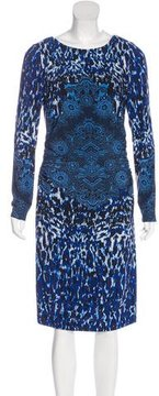 David Meister Printed Ruched Dress