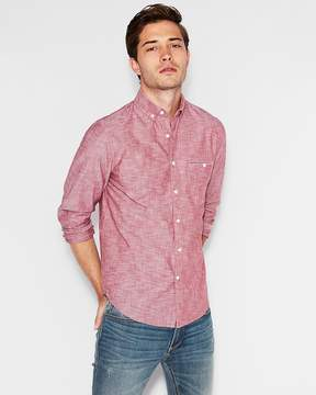 Express Classic Two Pocket Chambray Button Down Shirt