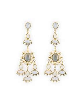 Sequin Crystal Bezel Chandelier Earrings