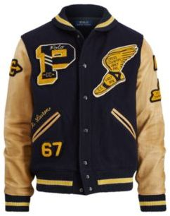 Ralph Lauren The Iconic Letterman Jacket Navy/Artisan Tan S