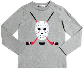 Moncler Hockey Flocked Cotton Jersey T-Shirt