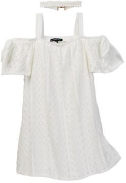 My Michelle mymichelle Off-the-Shoulder Crochet Dress & Choker Necklace 2-Piece Set (Big Girls)