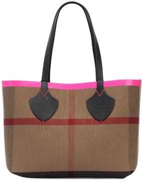 Burberry Medium Reversible Check Canvas Tote Bag