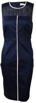 Calvin Klein Women's Illusion Contrast-Trim Sheath Dress
