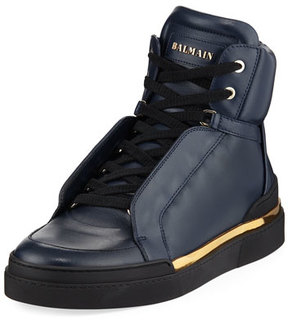 Balmain Atlas Suede High-Top Sneaker, Blue