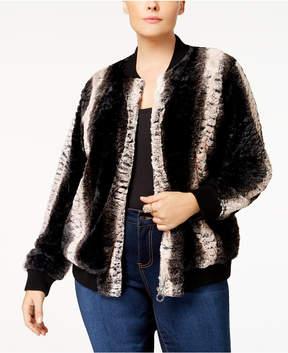 Belldini Plus Size Faux-Fur Bomber Jacket