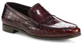 Giorgio Armani Crocodile-Embossed Leather Loafers