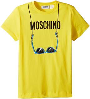 Moschino Kids Short Sleeve Logo Sunglasses Graphic T-Shirt Boy's T Shirt