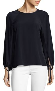 Saks Fifth Avenue BLACK Tie Billow Sleeve Top