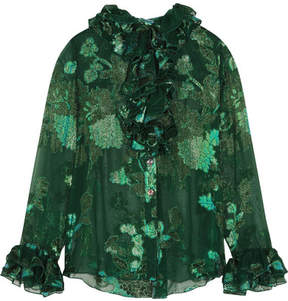 Anna Sui Iridescent Moonlight Garden Fil Coupé Silk-blend Chiffon Blouse - Green