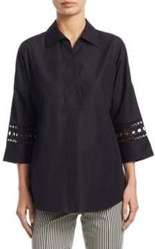 Akris Punto Kimono Eyelet Cotton Blouse