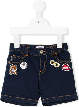 Moschino Kids logo embroidered denim shorts