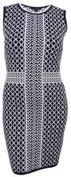 Tommy Hilfiger Women's Peyton Knit Sheath Dress (Navy/White, L)