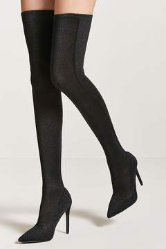 Forever 21 Metallic Knit Over-the-Knee Sock Boots