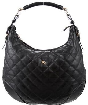 Burberry Hoxton Quilted Hobo - BLACK - STYLE