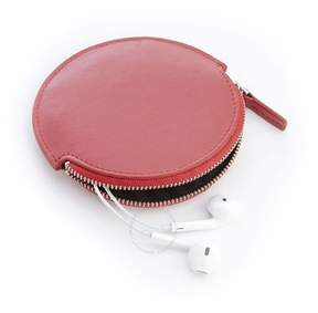 Royce Leather Royce Red Leather Circular Earbud Travel Case