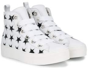 No.21 Kids TEEN lace-up hi-top sneakers