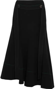 Ellery Belted Asymmetric Crepe Midi Skirt - Black