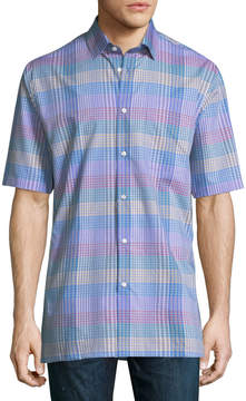 Neiman Marcus Classic Fit Regular Finish Short-Sleeve Cotton Grid Shirt