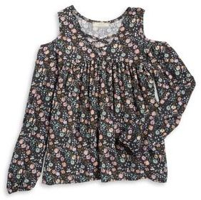 Soprano Girl's Floral-Print Cold Shoulder Top